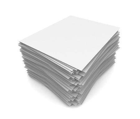 stapel papier 3d 3D-afbeelding op een witte achtergrond