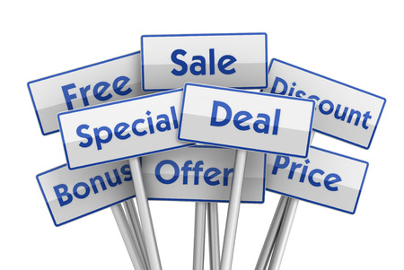 placards: sale deal placards 3d 3d illustration isolated on white background Stock Photo