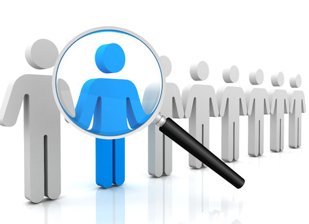 searching person 3d 3d illustration isolated on white background Stock Photo