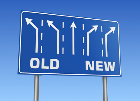 old and new: old new road sign 3d concept 3d illustration on sky background Stock Photo