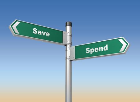 spend: save spend road sign 3d concept 3d illustration on sky background