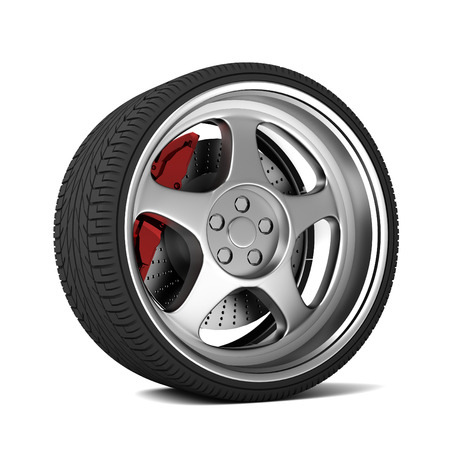 car tire 3d 3d illustration isolated on white background