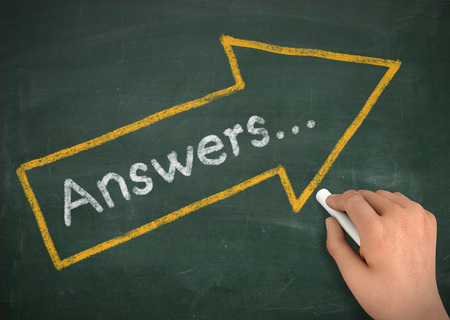 answers: answers chalkboard hand write 3d illustration concept