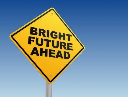 forthcoming: bright future ahead road sign 3d illustration Stock Photo