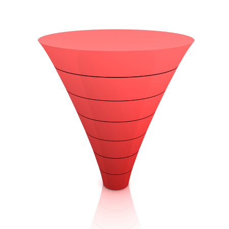 seperating funnel graph 3d illustration isolated on white background
