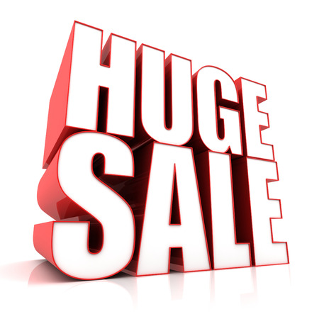 huge: huge sale 3d illustration isolated on white background