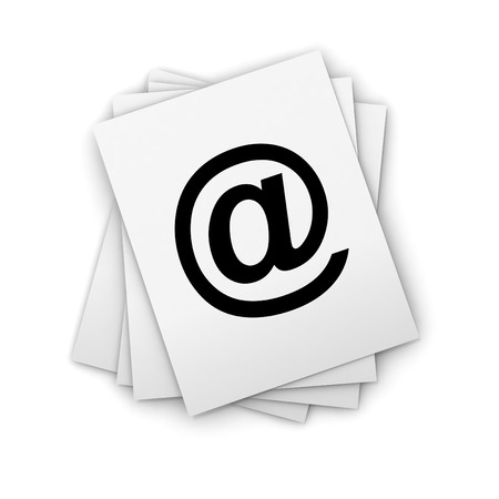 large group of objects: e mail stack 3d illustration isolated on white background