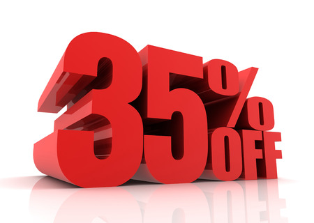 thirty percent off: thirty five percent off sale 3d illustration isolated on white background