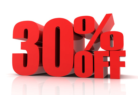 thirty percent off: thirty percent off sale 3d illustration isolated on white background Stock Photo