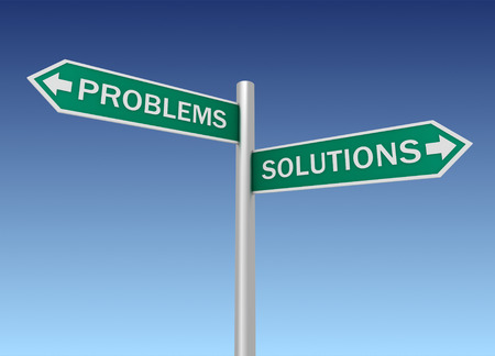 problems solutions: problems solutions road sign 3d concept illustration on sky background