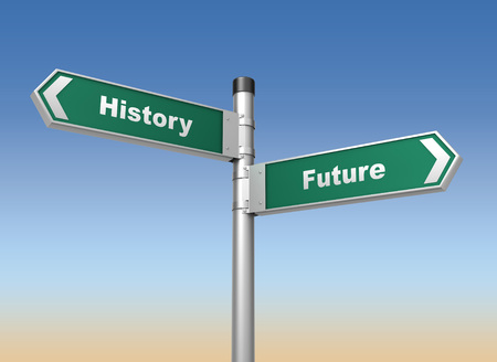 changes: history future road sign 3d concept illustration on sky background Stock Photo