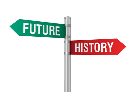 past: future past road sign 3d concept illustration on white background Stock Photo