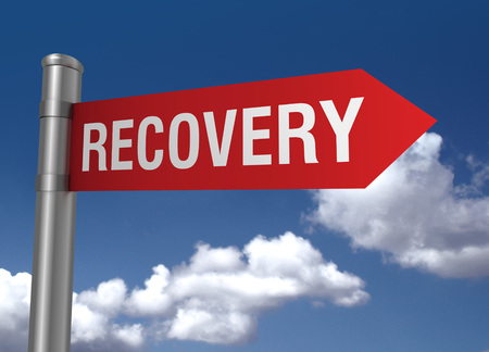 road to recovery: recovery road sign 3d concept illustration on sky background
