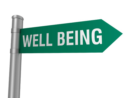 well being: well being road sign 3d concept illustration on white background Stock Photo