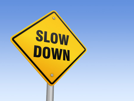 slow down road sign 3d concept illustration on sky background Stock Photo