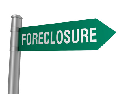 foreclosure road sign 3d concept illustration on white background