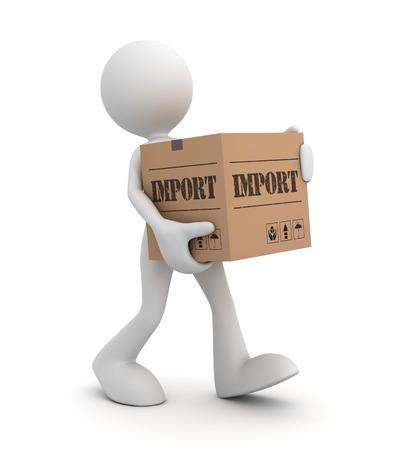 import cardboard box 3d illustration isolated on white background