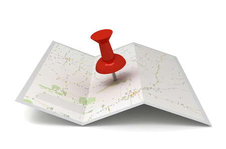 map and pushpin 3d illustration isolated on white background
