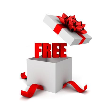 free gift box 3d illustration isolated on white background