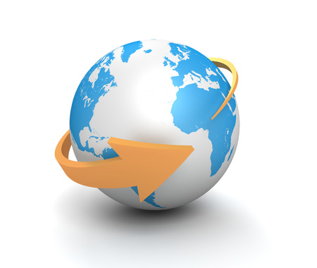 globe surrounding arrow 3d illustration isolated on white background Stock Photo