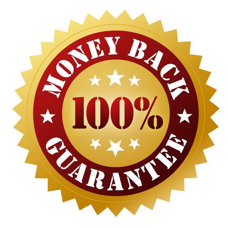 geld terug garantie badge 3D-afbeelding op een witte achtergrond Stockfoto