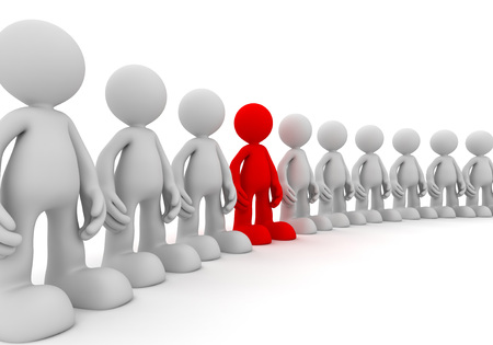 standing out from the crowd 3d illustration isolated on white background Stock Photo