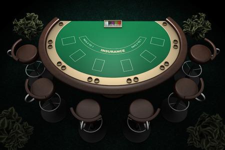 椅子やカーペットの背景とポーカー テーブル