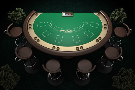 poker table with chairs and carpet background