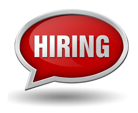 staffing: hiring badge 3d illustration isolated on white  background Stock Photo