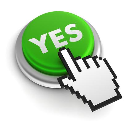 persuasive: yes 3d illustration isolated on white background Stock Photo