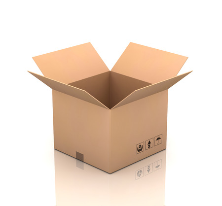 corrugated box: open cardboard box 3d illustration isolated on white background