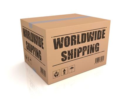 sack truck: worldwide shipping 3d illustration isolated on white background Stock Photo