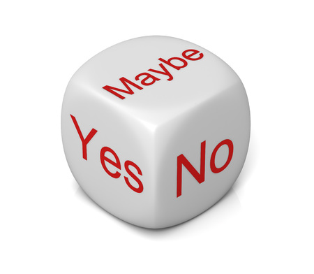 yes or no: yes no maybe cube 3d illustration isolated on white background
