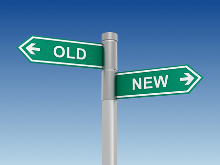old sign: old and new road sign 3d illustration Stock Photo