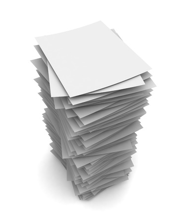 stack of paper: paper stack 3d illustration isolated on white background