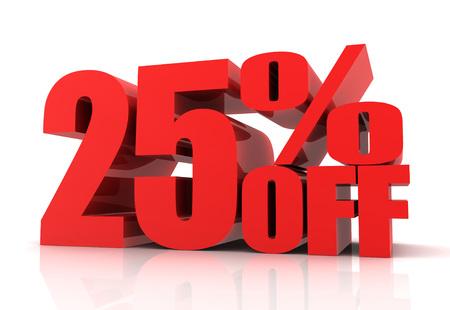 twenty five: twenty five percent off sale 3d illustration isolated on white background