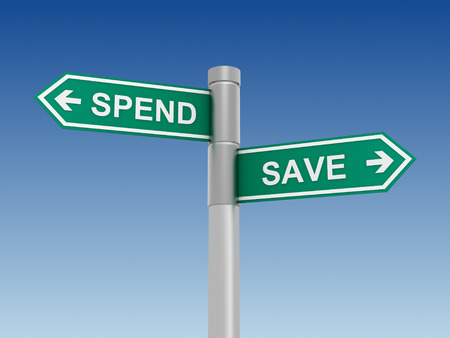 spend: save spend green road sign 3d concept illustration Stock Photo