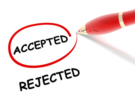 rejected: accepted rejected 3d illustration isolated on white background