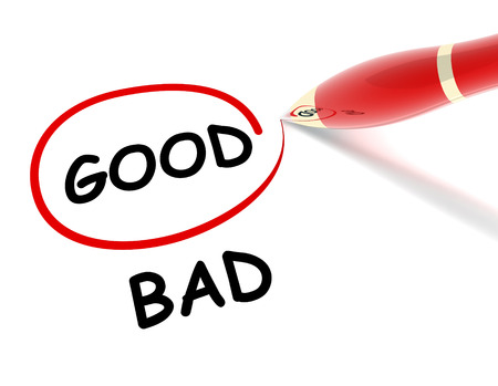 good bad 3d illustration isolated on white background Stock Photo