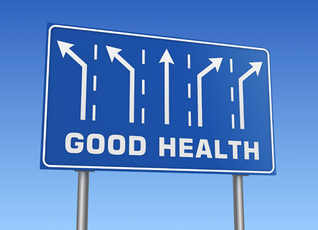 good health: good health road sign 3d concept illustration on sky background