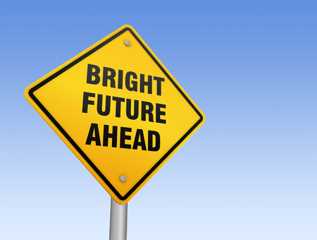 bright future: bright future ahead road sign 3d concept illustration on sky background