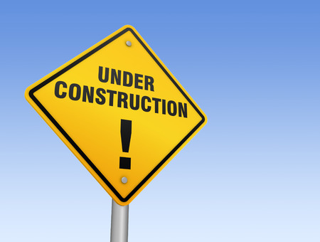 under construction road sign: under construction road sign 3d concept illustration on sky background