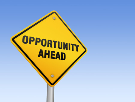 opportunity concept: opportunity road sign 3d concept illustration on sky background