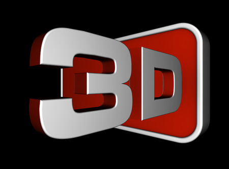 stereoscopic: 3d text illustration isolated on black background Stock Photo