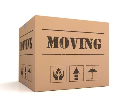 unpacking: moving 3d illustration isolated on white background Stock Photo