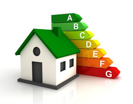 energy efficiency bar chart 3d illustration isolated on white background Stock Photo