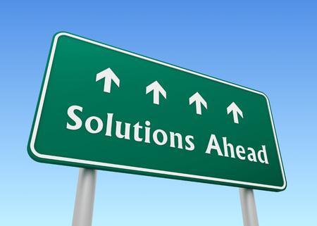 ahead: solutions ahead road sign 3d concept illustration