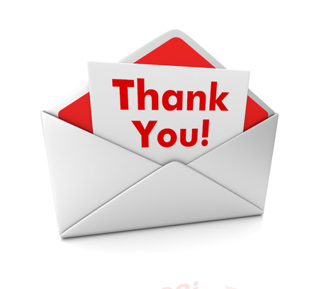 thank you note: thank you note 3d illustration isolated on white background Stock Photo