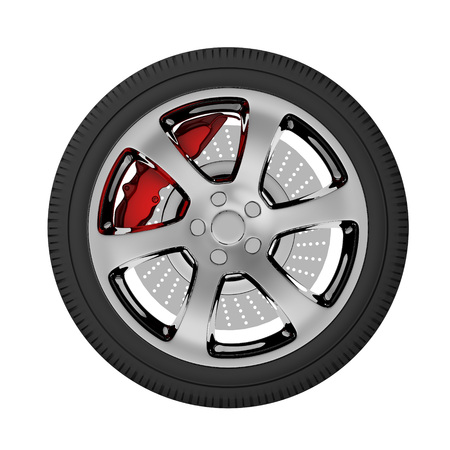 car tire: car tire side view 3d illustration isolated on white background
