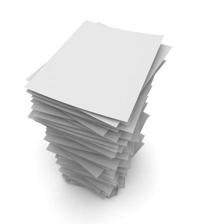 stapel papier 3D-afbeelding op een witte achtergrond